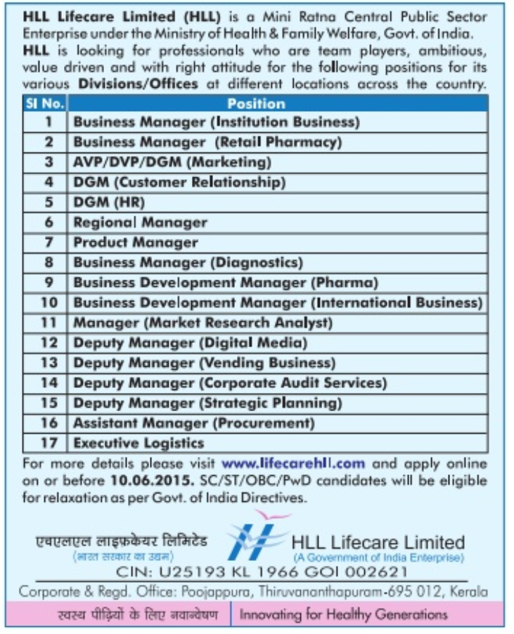 HLL Lifecare Recruitment 2015 For Various Posts