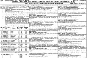 Northern Railway NCR College Teacher Recruitment 2015 Apply Online Form