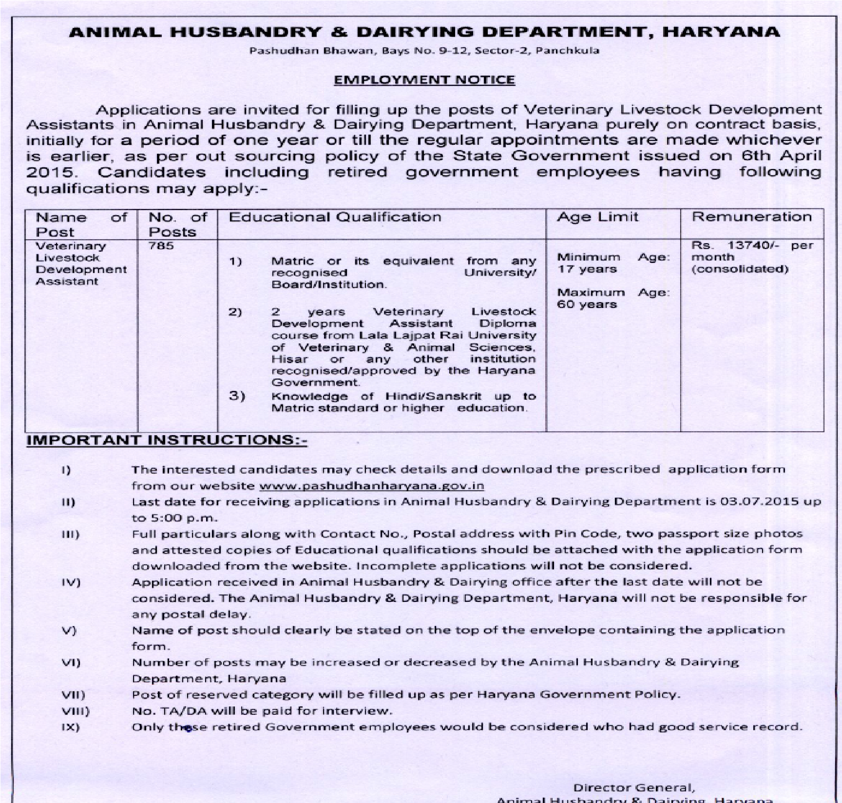 Pashudhan Assistant Veterinary Recruitment 2015 Haryana 785 Vacancies Application Form Online For How to Apply