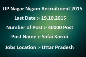 UP Nagar Nigam Recruitment 2015 Safai Karmi Vacancies Online Apply Last Date