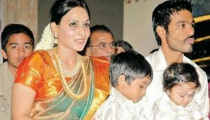 Dhanush family background, Sons and Wife Photo